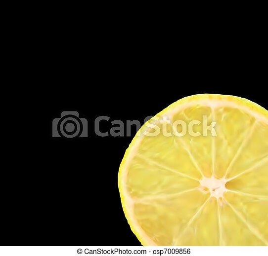 Lemon slice, isolated on black. Vector - csp7009856