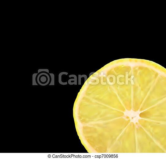 Lemon slice, isolated on black. Vector - csp7009856