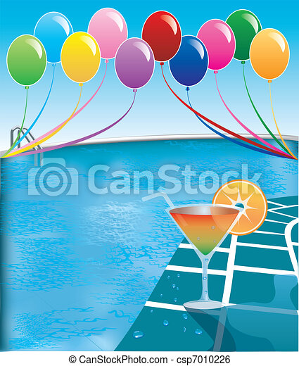 Clip art vector of pool party vector illustration of pool party with