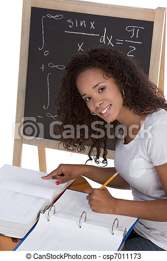 ethnic black college student woman studying math exam - csp7011173