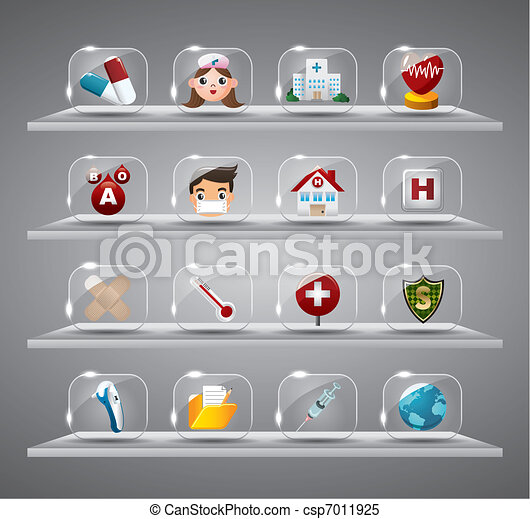 Cartoon Medical And Hearth,Transparent glass Button - csp7011925