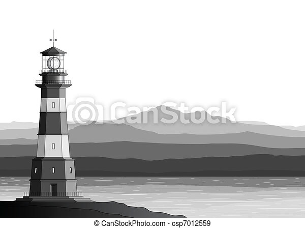 Landscape with detailed lighthouse, mountains and sea - csp7012559