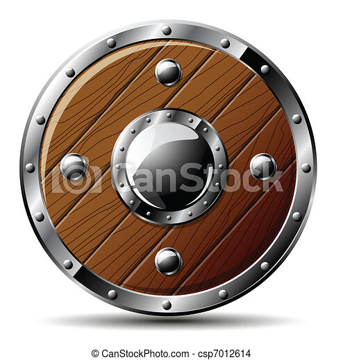 Round wooden shield - isolated on white - csp7012614