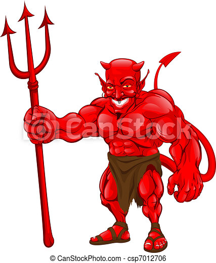 Devil standing with pitchfork - csp7012706