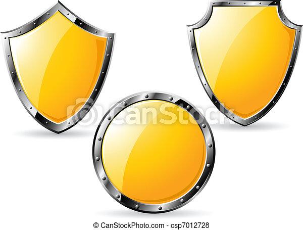 Set of yellow steel shields - csp7012728