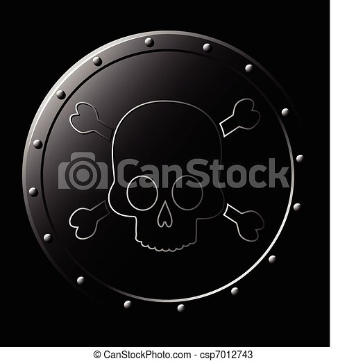 Black Steel Shield with skull - isolated on black - csp7012743