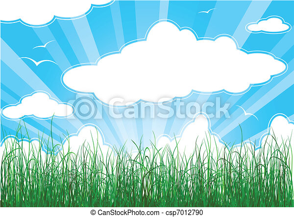 Sunny summer background with grass, clouds and sunbeams - csp7012790