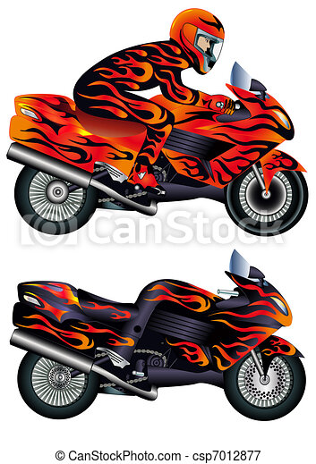 speed motorcycle with person and burning painter - csp7012877