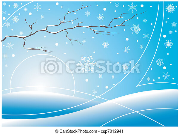 Winter background with snowflakes and branch - csp7012941