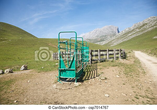 livestock enclosure in Cantabrian valley - csp7014767