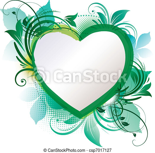 Green Heart Floral Background - csp7017127
