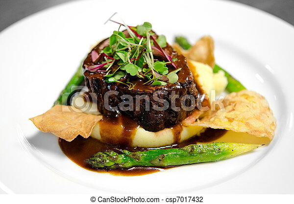 Gourmet filet on bed of mashed potatoes - csp7017432