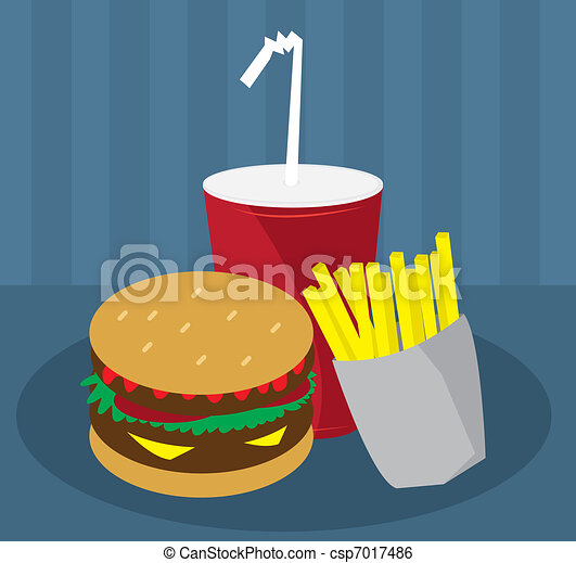 Hamburger, Fries and Drink - csp7017486