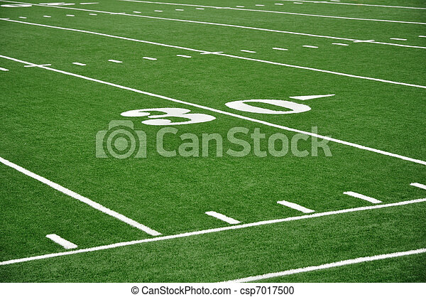 Thirty Yard Line on American Football Field - csp7017500
