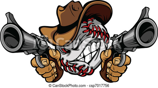 Baseball Shootout Cartoon Cowboy - csp7017756