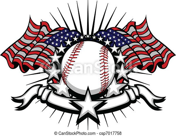 Baseball with Flags and Stars - csp7017758