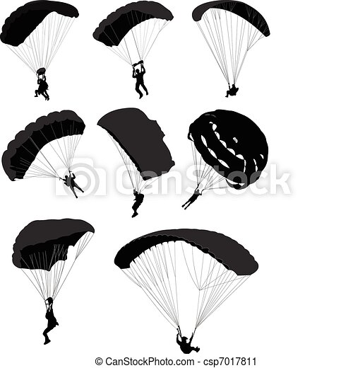 Big set of parachutists in flight - csp7017811