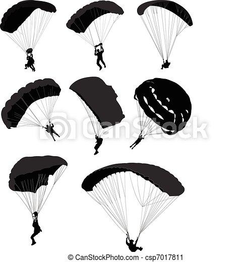 Big set of parachutists in flight - csp7017811