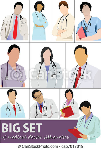 Big set of Medical doctor silhouet - csp7017819