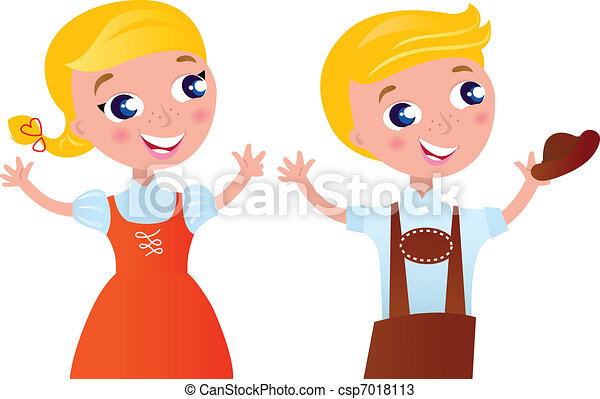 Octoberfest bavarian boy and girl isolated on white