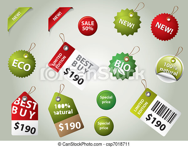 collection of sale labels and badges - csp7018711