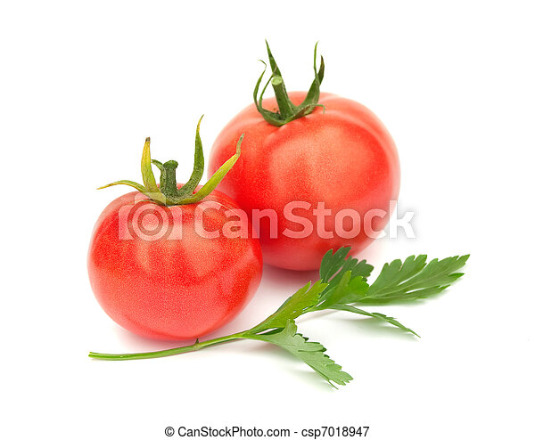 Two ripe tomatoes and parsley - csp7018947