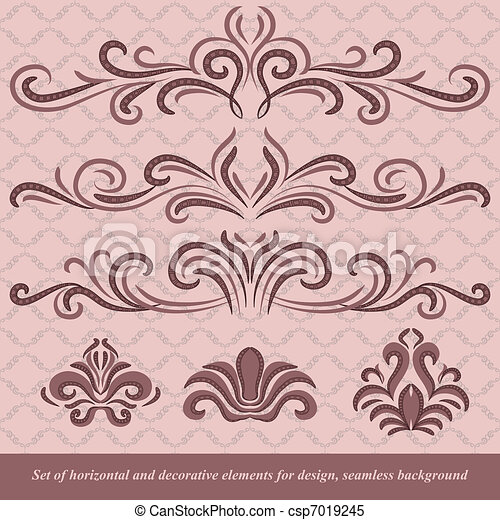 Horizontal elements decoration vector - csp7019245