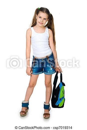 Cute schoolchild with knapsack - csp7019314
