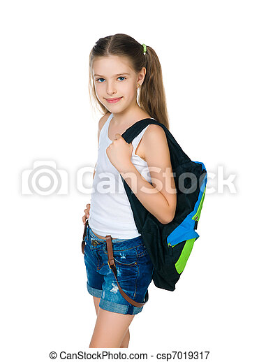 Cute schoolchild with knapsack - csp7019317