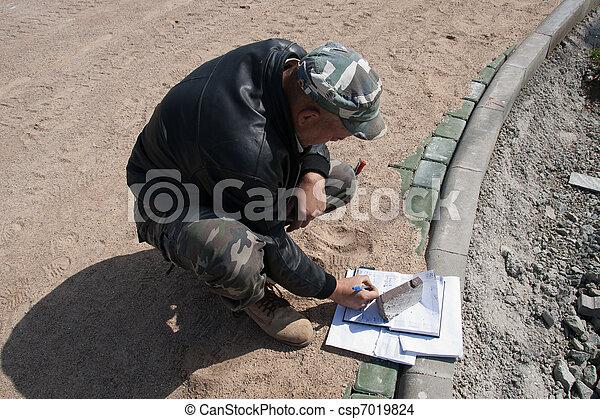 Brick Paver Worker - csp7019824