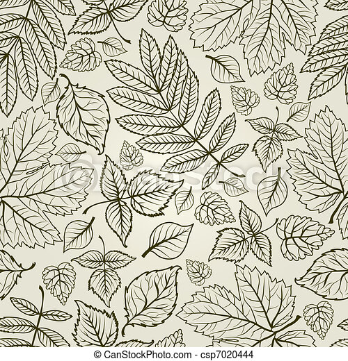 Seamless autumn leaves background - csp7020444