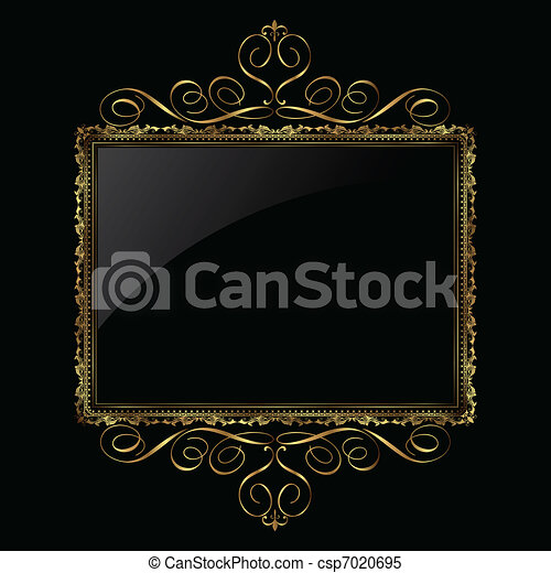 Decorative gold and black frame - csp7020695