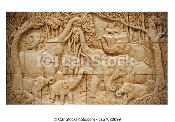 elephant family clay wall paper with hand made carving jig saw image style - csp7020899
