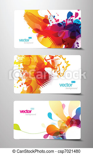 Set of abstract colorful splash gift cards. - csp7021480