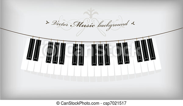 Hanging piano keyboard with place for your text. - csp7021517