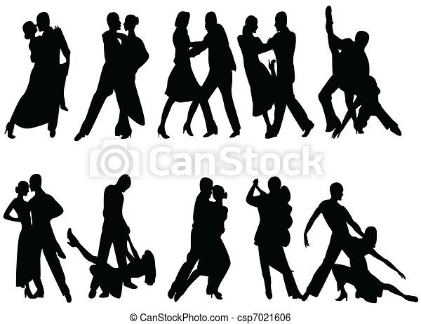 Clip Art Vector of tango - silhouettes of people dancing tango ...