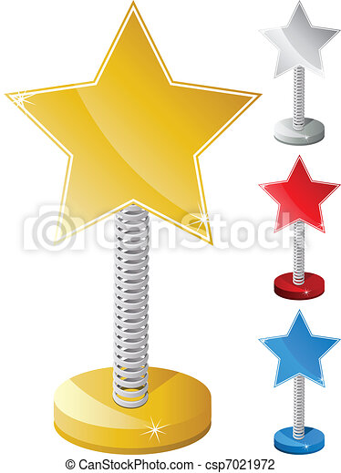 Set of Colorful Star Shaped Text Box on Metal Spring - csp7021972