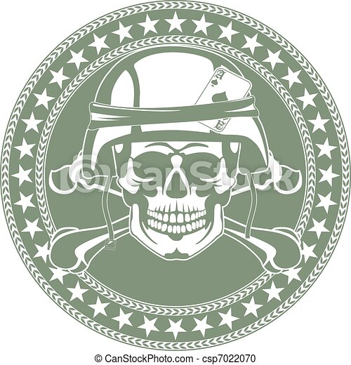 Vector Clipart of Emblem a skull in a military helmet - The vector ...