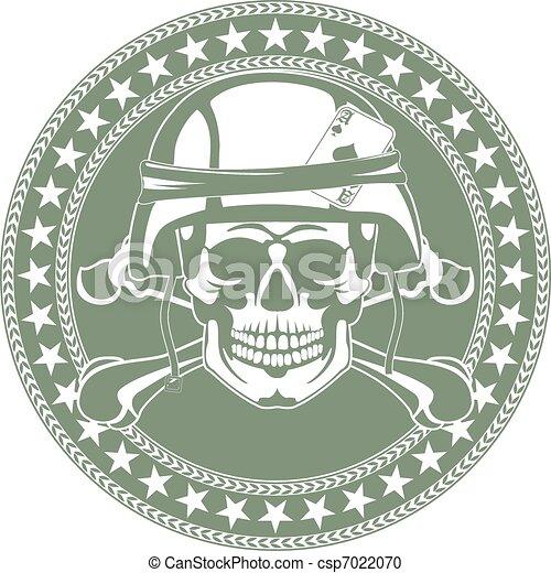 Emblem a skull in a military helmet - csp7022070