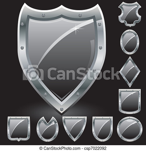 Set of security shields, coat of arms symbol icons, black, vector illustration - csp7022092