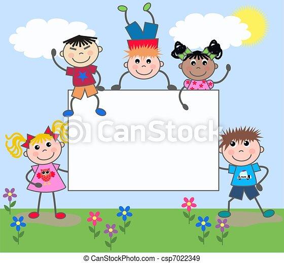 gemischter, Kinder, ethnisch - csp7022349