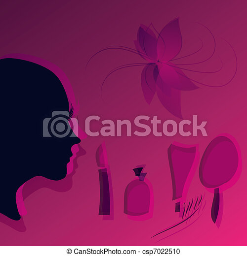 Beauty face woman with cosmetics - csp7022510