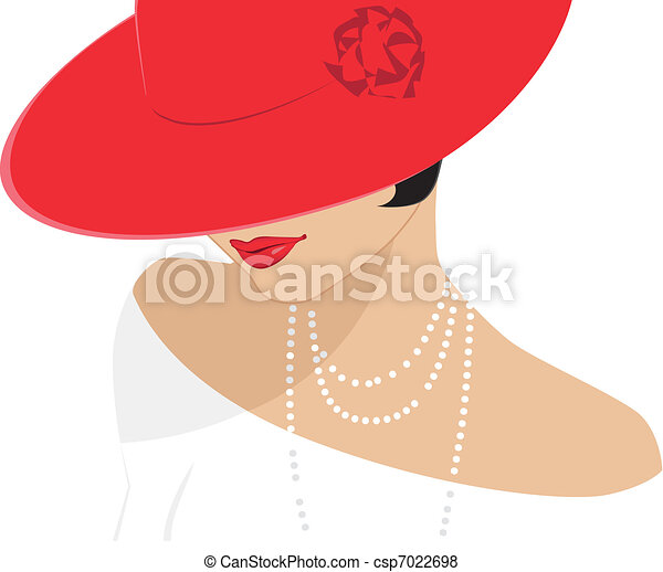 Lady in a red hat - csp7022698