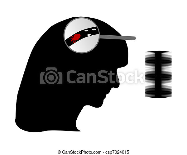 Head of woman, louse, nit and lice comb - csp7024015