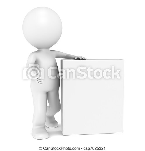 3D little human character with Blank Product Box - csp7025321
