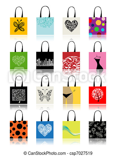 Shopping bags set for your design - csp7027519