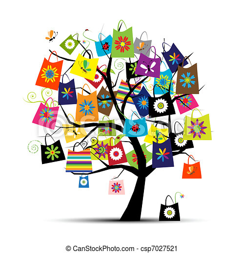 Shopping bags on tree for your design - csp7027521