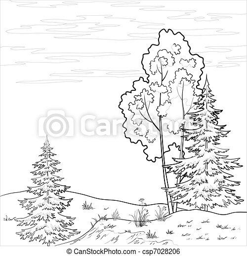 Landscape. Forest river, outline - csp7028206
