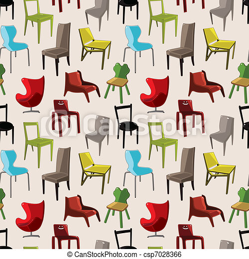 Chair Furniture Seamless Pattern Vector Clipart Instant