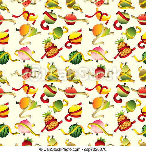 fresh fruit and ruler health seamless pattern - csp7028370